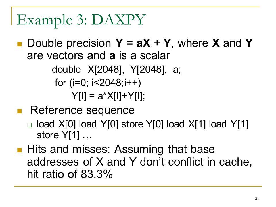 Example 3: DAXPY Double precision Y = aX + Y, where X and Y are vectors and a is a scalar. double X[2048], Y[2048], a;